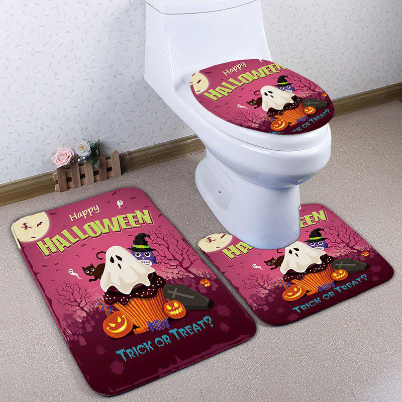 3Pcs Set Halloween Bathroom Decor Flannel Toilet Rug  RUSSET RED 2018
