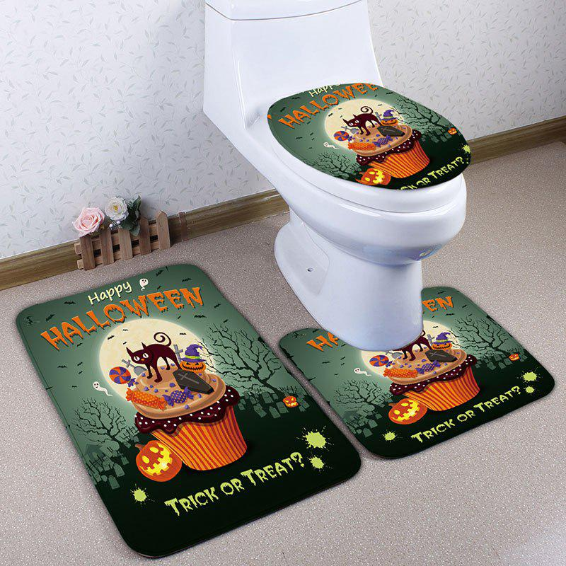 3Pcs/Set Halloween Cat Flannel Bathroom Toilet Rug halloween bloody hand pattern 3 pcs bathroom toilet mat