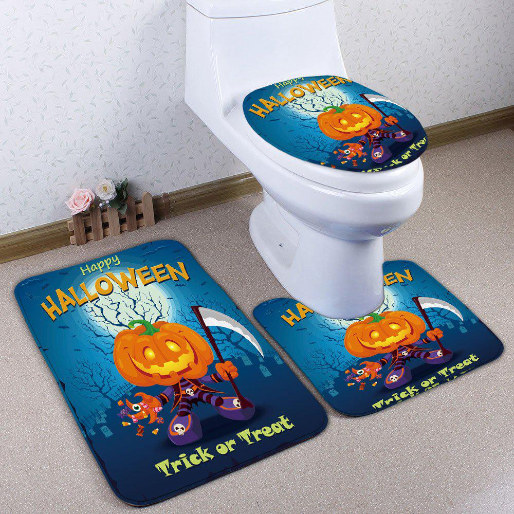3Pcs/Set Flannel Pumpkin Halloween Bath Toilet Rug - BLUE