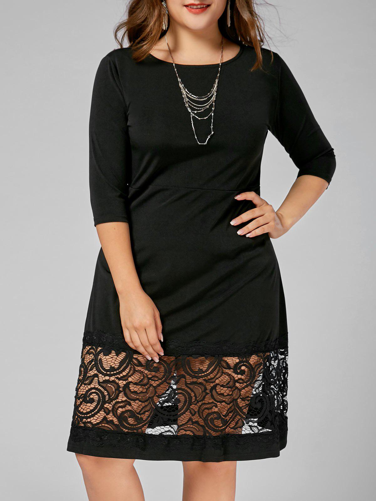 Lace Panel Plus Size A Line Dress - BLACK 3XL