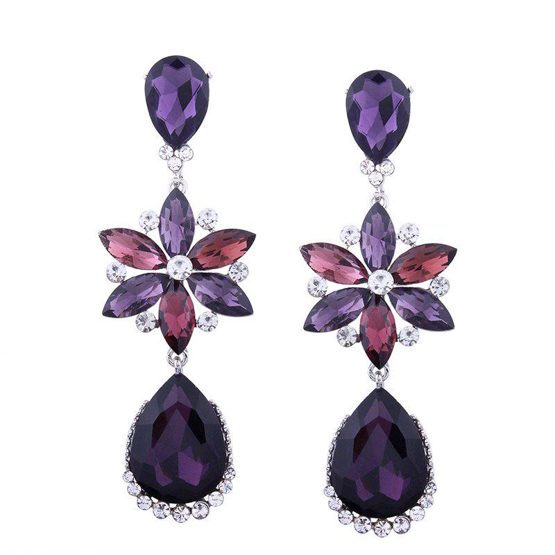 Artificial Crystal Teardrop Flower Dangle Earrings - PURPLE