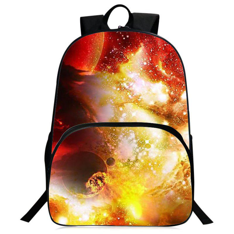 Universe Printed Padded Strap Backpack - YELLOW
