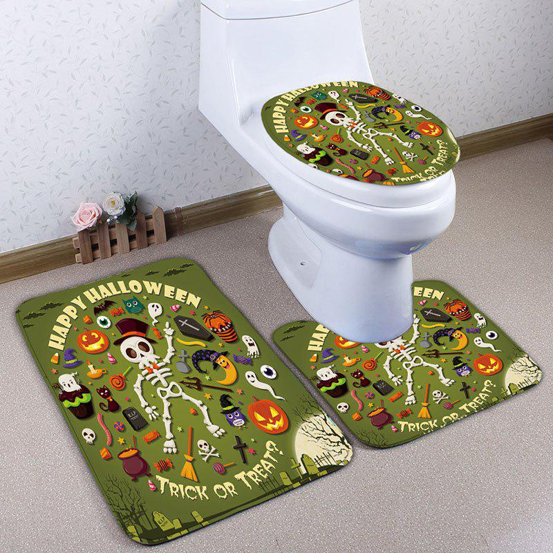 3Pcs/Set Halloween Skull Flannel Bathroom Toilet Rug - GREEN
