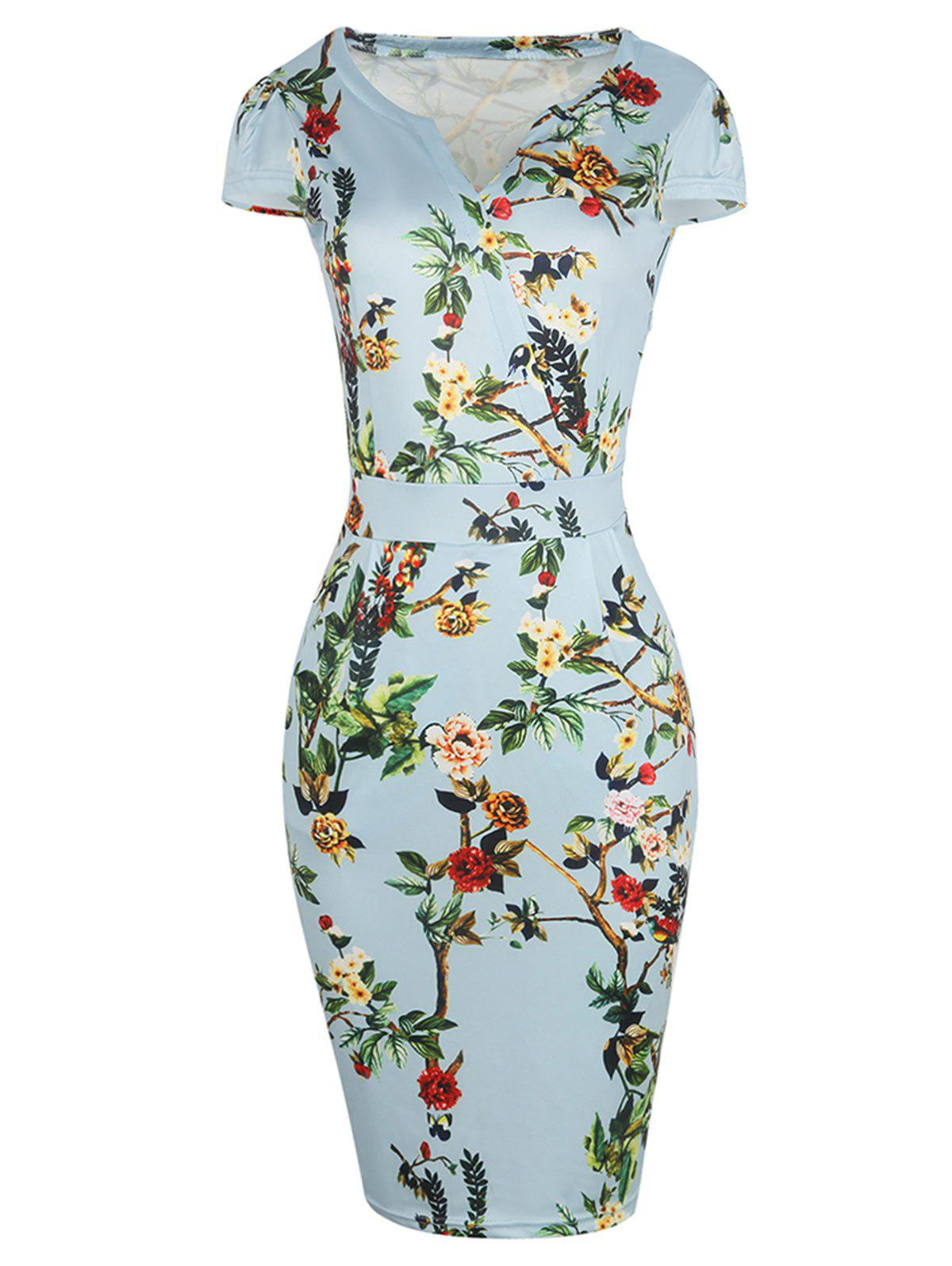 Bodycon Floral Plus Size Midi Dress - LIGHT GREEN 4XL
