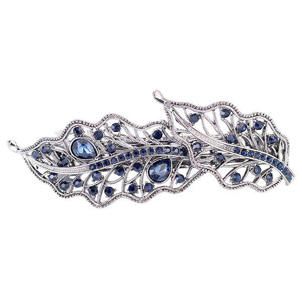 Faux Gemstone Inlay Hollow Out Leaf Barrette - PURPLISH BLUE