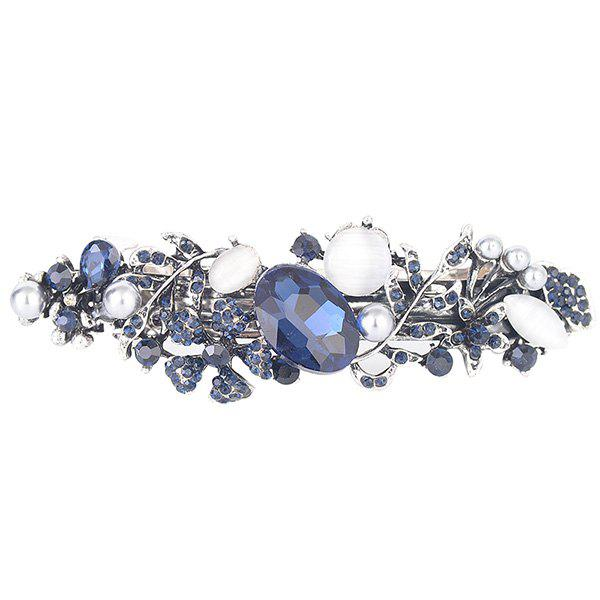 Artificial Gem Inlaid Hollow Out Floral Barrette - PURPLISH BLUE
