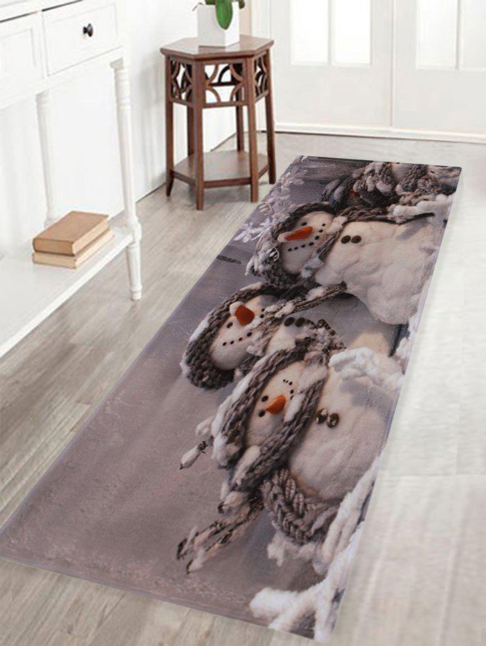 Winter Snowmen Print Indoor Outdoor Area Rug, Gray