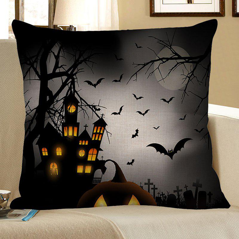 Tower Bat Printed Halloween Pillowcase - GRAY W18 INCH * L18 INCH