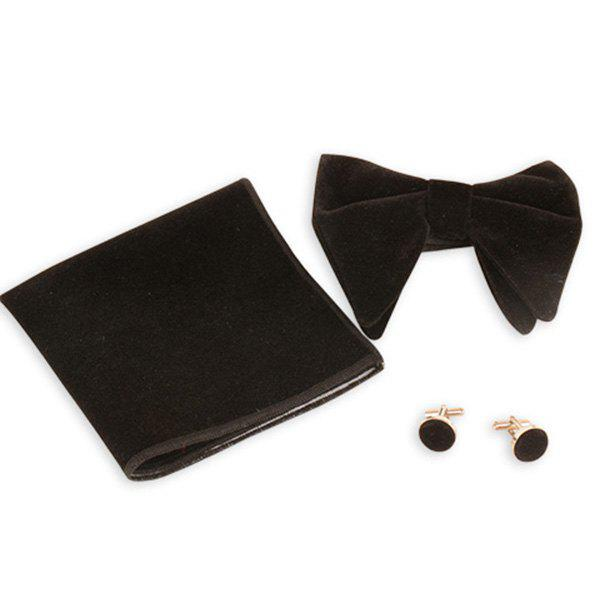 Three Pieces Bowtie Handkerchief Cufflink Set - BLACK
