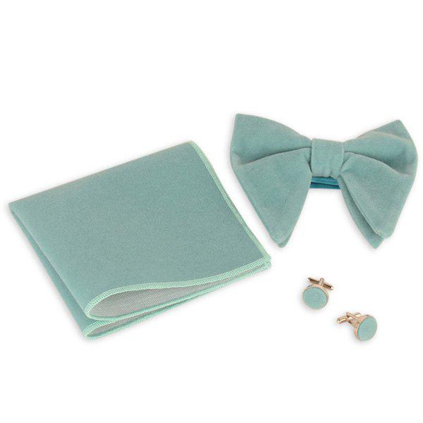 Three Pieces Bowtie Handkerchief Cufflink Set - PANTONE TURQUOISE