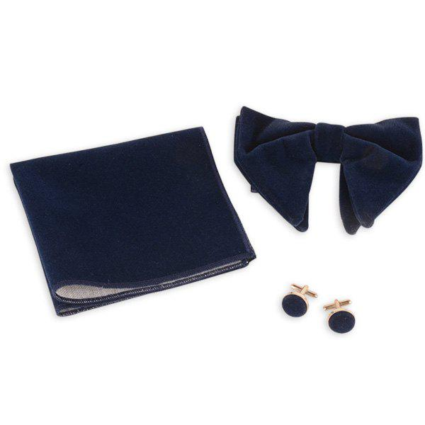 Three Pieces Bowtie Handkerchief Cufflink Set - DEEP BLUE