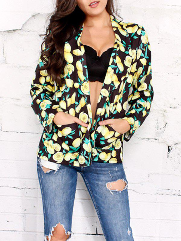 Open Front Shawl Collar Lemon Print Blazer - BLACK M