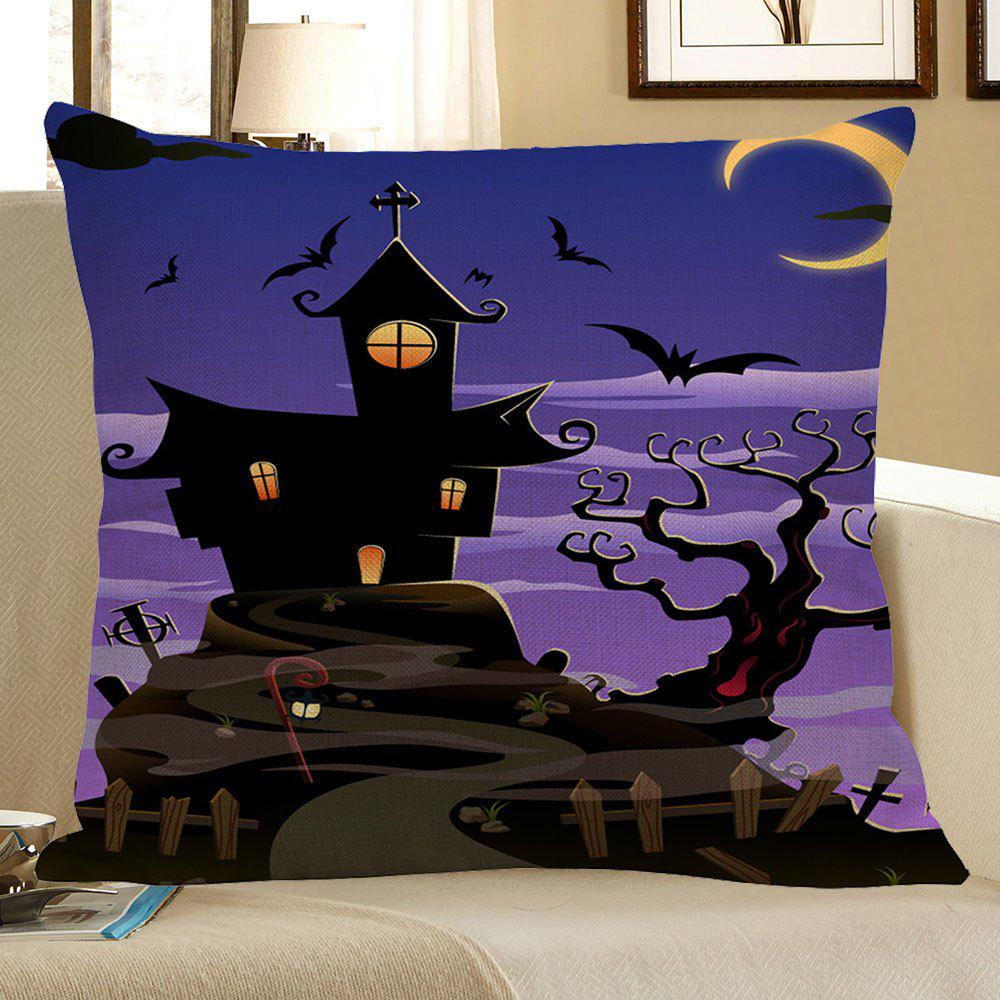 Halloween Bat Printed Square Pillowcase - BLACK/PURPLE W18 INCH * L18 INCH