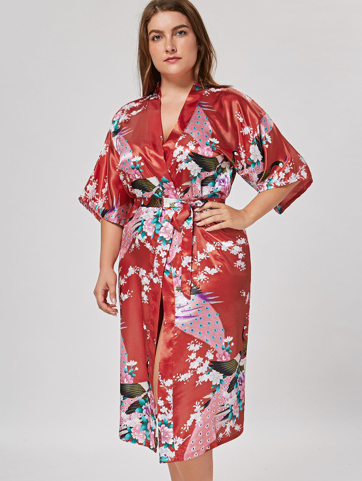 2018 kimono pyjama en satin long grande taille rouge clair. Black Bedroom Furniture Sets. Home Design Ideas