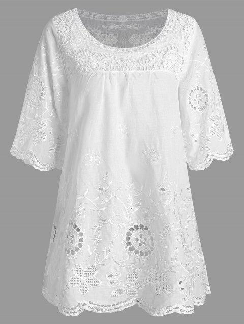 8d6c86d9b97 LIMITED OFFER  2019 Floral Crochet See Thru Plus Size Top In WHITE ...