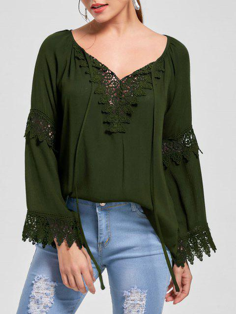 Lace Insert Flare Sleeve Bohemian Blouse - OLIVE GREEN L