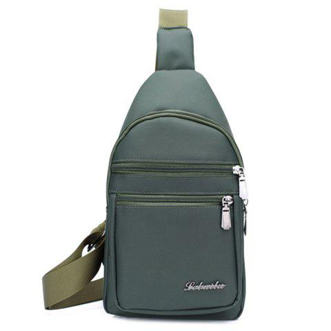Zippers Nylon Front Crossbody Bag - ARMY GREEN