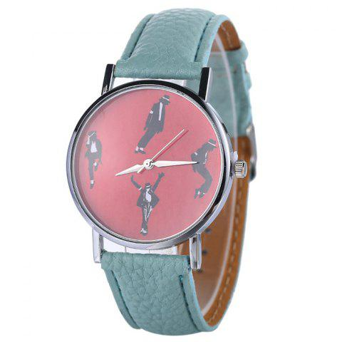 Faux Leather Strap Michael Jackson Pattern Watch - MINT