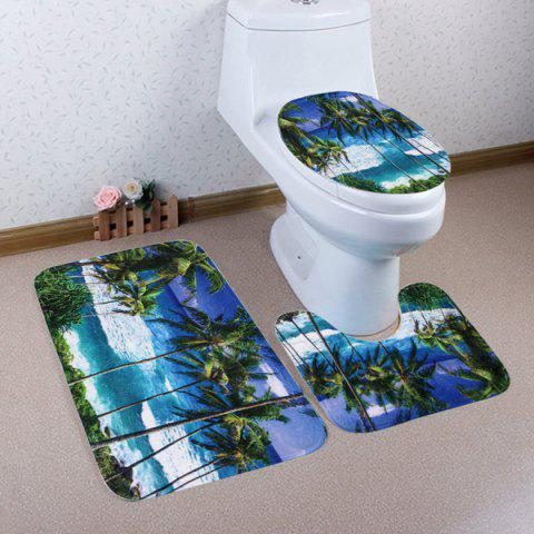 3Pcs / Set Coral Fleece Seaside Palm Tree Toilet Tapis - multicolore