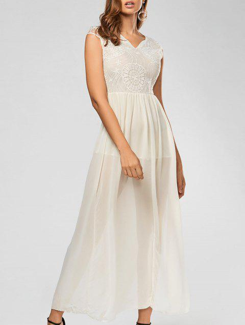 Elegant Women's Plunging Neck Sleeveless Lace Splicing Slit Long Dress - OFF WHITE S