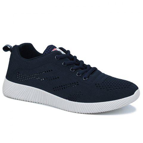 Breathable Mesh Tie Up Casual Shoes - DEEP BLUE 44