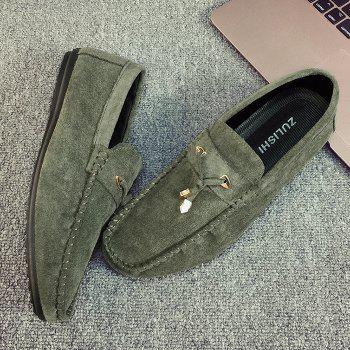Faux SuedeTie Front Moccasins - GREEN 42