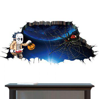 Halloween 3D Spider Wall Art Sticker For Bedroom -  DEEP BLUE