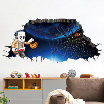 Halloween 3D Spider Wall Art Sticker For Bedroom - DEEP BLUE DEEP BLUE