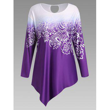 Plus Size Floral Ombre Long Sleeve Asymmetric Top