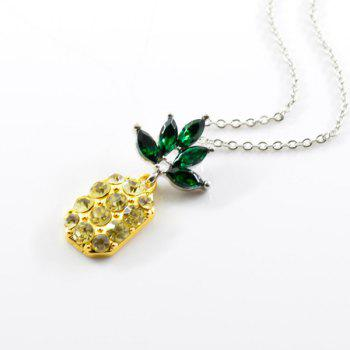 Rhinestone Pineapple Necklace with Earring Set -  YELLOW