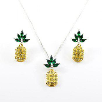 Rhinestone Pineapple Necklace with Earring Set - YELLOW YELLOW
