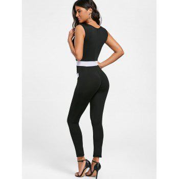 V Neck Color Block Skinny Jumpsuit - BLACK L