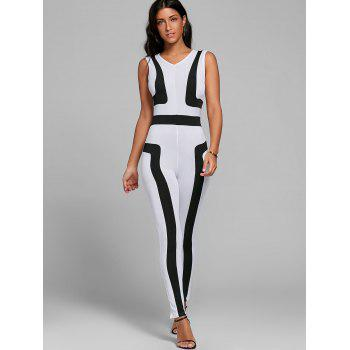 V Neck Color Block Skinny Jumpsuit - Blanc XL