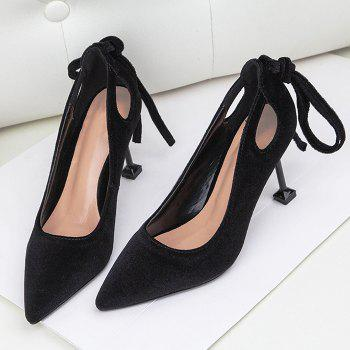 Hollow Out Velvet Strange Style Pumps - BLACK 39