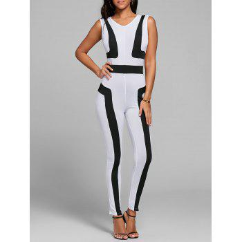 V Neck Color Block Skinny Jumpsuit - WHITE M