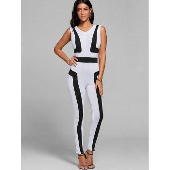 V Neck Color Block Skinny Jumpsuit - M M