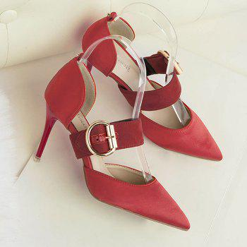 Mini Heel Belt Buckle Pumps - RED 38
