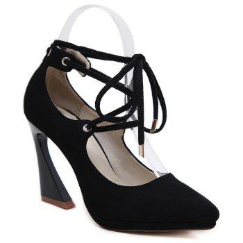 Tie Up Point Toe High Heel Pumps