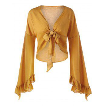 Plunge Bell Sleeve Bowknot Ruffled Blouse