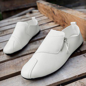 Faux Leather Zip Slip On Shoes - Blanc 41