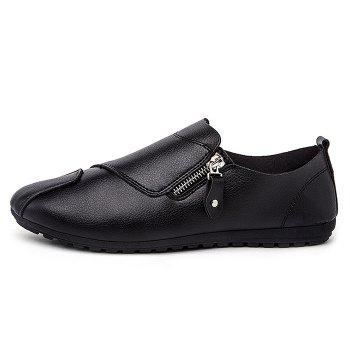 Faux Leather Zip Slip On Shoes - Noir 41