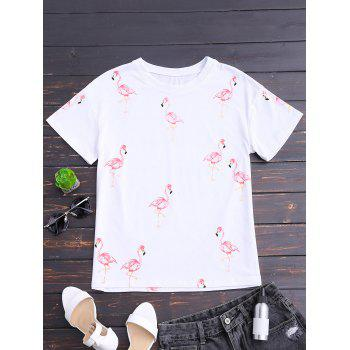 Short Sleeve Flamingo Print T-shirt