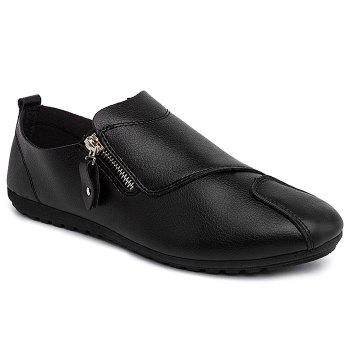 Faux Leather Zip Slip On Shoes