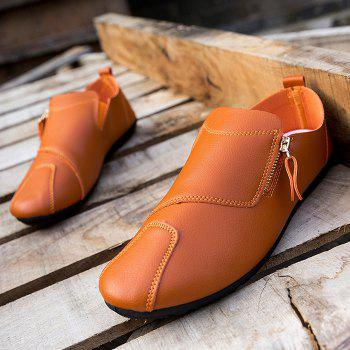 Faux Leather Zip Slip On Shoes - Orange Clair 44