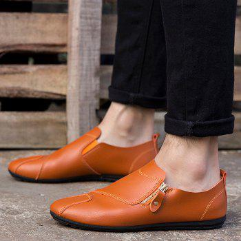 Faux Leather Zip Slip On Shoes - Orange Clair 41
