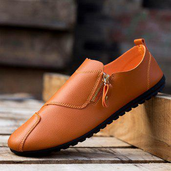 Faux Leather Zip Slip On Shoes - Orange Clair 40