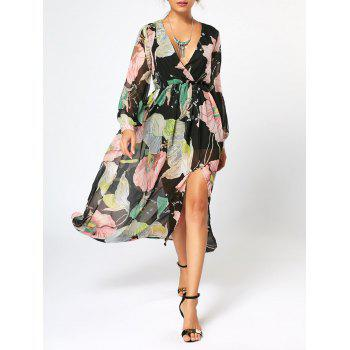 Chiffon Long Sleeve Flower Maxi Surplice Dress