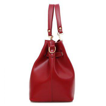 3 Pieces PU Leather Tote Bag Set - WINE RED