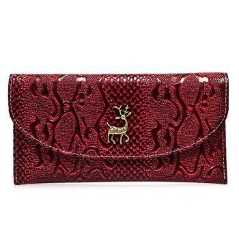 Embossed Faux Leather Clutch Wallet - WINE RED WINE RED