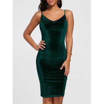 Spaghetti Strap Cut Out Velvet Bodycon Dress